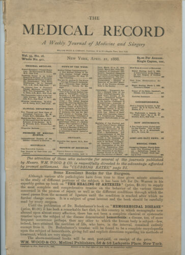 4/21 1888 New York Medical Record Journal Medicine Surgery Doctor Trade Magazine