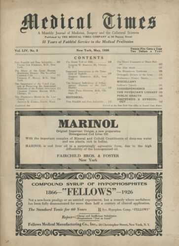 May 1926 New York Medical Times Journal Medicine Doctors Trade Magazine MARINOL