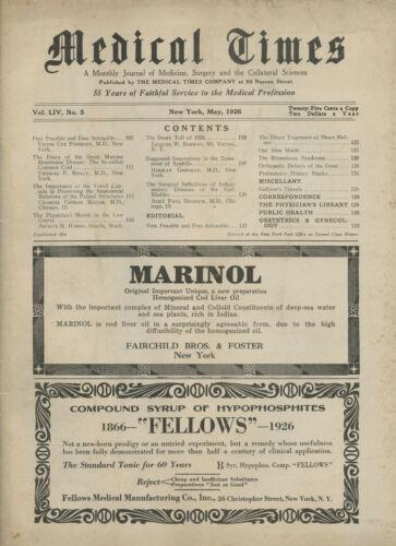 May 1926 New York Medical Times Journal Medicine Doctors Trade Magazine MARINOL