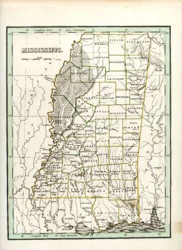 1835 Bradford Map of Mississippi Vicksburg Tunica Pascagoula Jackson Maps Atlas