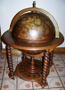 Antique barley twist liquor cocktail cabinet old world map for 16 inch floor old world bar globe cart