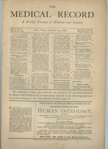 1/24 1885 New York Medical Record Journal Medicine Surgery Doctor Trade Magazine