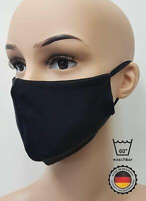 Mundschutz wiederverwendbar, atmungsaktiv, Maske 2-lagig aus Baumwolle, Schwarz