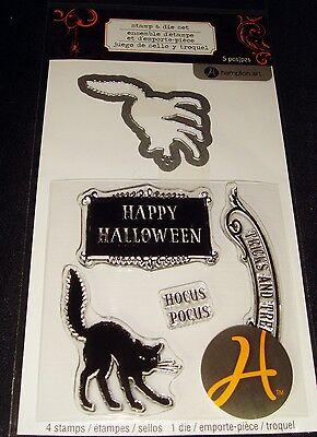 Hampton Arts Rubber Stamp & Die Set Clear Hocus Pocus Happy Halloween Cat + 5 pc ()