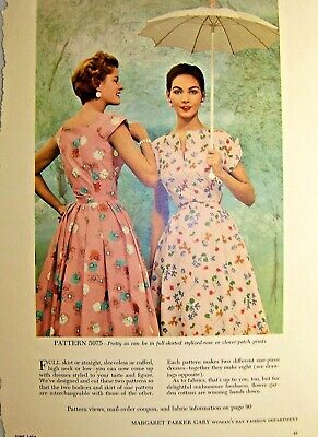Vintage Magazine Tear Sheet Womans Day Patterns 5074 and 5075