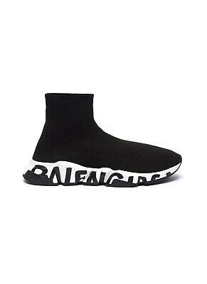Size 10 Balenciaga Graffiti Speed Trainer Black/White Men Shoes -New Condition