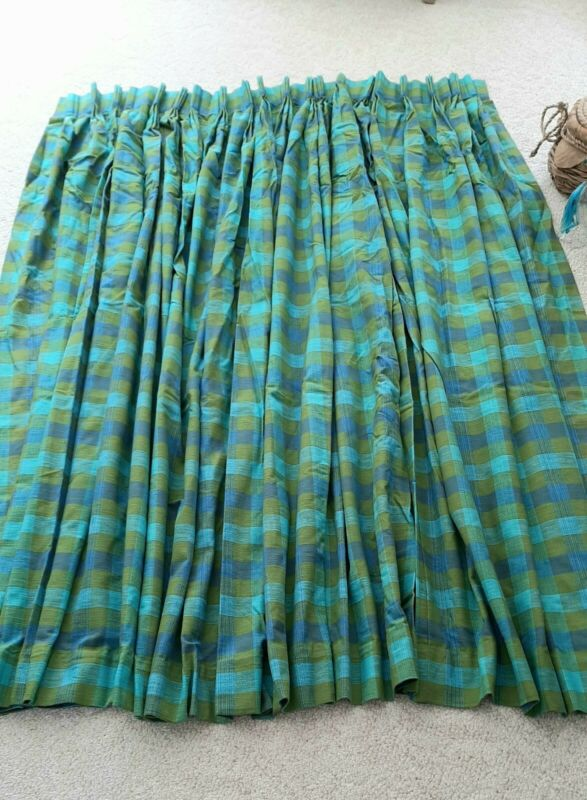 Vintage 60s Retro Drapes Curtains Aqua / Turquoise, Green and Blue Awesome!