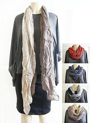 Holiday Gift Women Scarf Scarves Block Crinkle Black Blue Brown Red 77