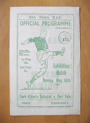 CORK ATHLETIC SELECT XI v PORT VALE Friendly 1953/1954 *VG Condition Programme*