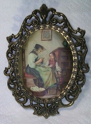 Vintage Small Brass Oval Frame Victorian Woman Print on Satin Wall Hanger Oval Victorian Wall Frame