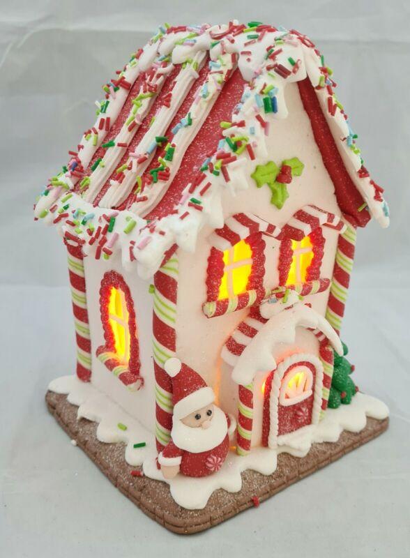 "Gingerbread House Candy Stripe White Red LED Light Up Claydough 7"" Kurt Adler"