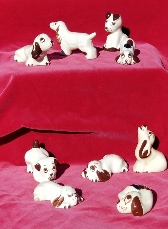 (9) Vintage (mostly) Rio Hondo Pottery Dogs