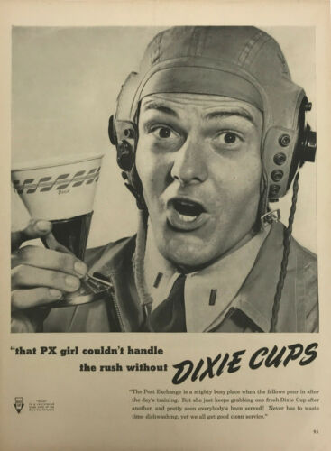 Dixie Cup Aviator Cap Hat Household Magazine Print Ad Vintage Kitchen Original