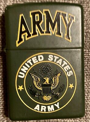 Zippo Lighter Green 2001 United States Army ENGRAVED