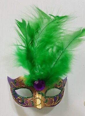 Mardi Gras Purple Green Gold Feather Mask Christmas Tree Ornament Magnet - Mardi Gras Tree