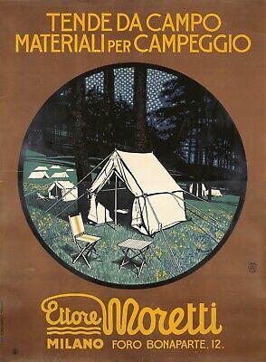 Original Vintage Poster Italian Marius Ettore Moretti Camping Tent Large1928