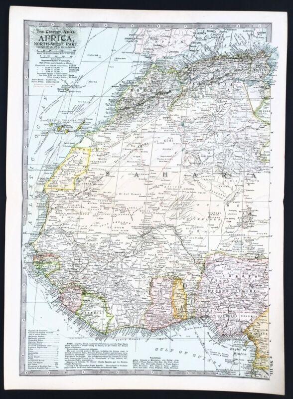 1906 North West Africa Map Senegal Nigeria Sahara Desert Algeria Morocco RARE