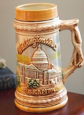 "WASHINGTON D.C. SOUVENIR MUG RASIED DESIGN CAPITOL VINTAGE JAPAN BEER STEIN 7"" H"