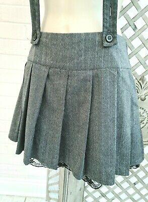 Redherring Grey Pinstripe Mini Skirt & Braces S Lolita Cosplay Halloween Goth