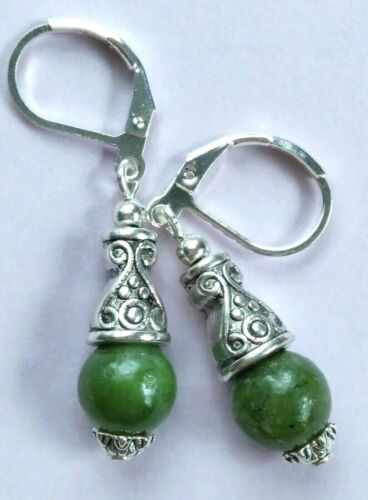 GREEN JADE DROP Bali style earring SP LEVERBACK handcrafted