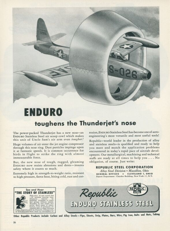 1953 Republic Stainless Steel Ad Air Force Thunderjet Nose USAF
