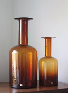 Pair of Otto Brauer Glass Vases by Kastrup Holmegaard in Denmark