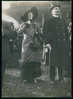 Woman Edwardian French fashion horce race original old 1910 Seeberger photo a02