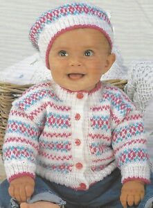 Baby Fairisle Cardigan and Beret Knitting Pattern in DK 16-22