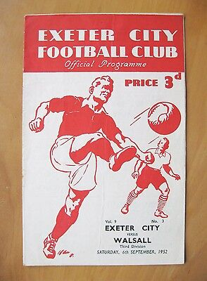EXETER CITY v WALSALL 1952/1953 *VG Condition Football Programme*
