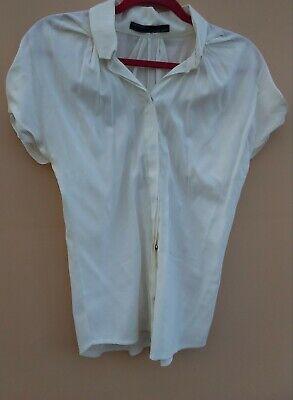 MESSI SHOP Designer Blouse Cream Short Sleeve High Collar Pin Tucks UK8/10