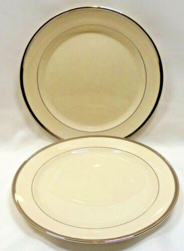 Pickard China USA Bracelet Salad Plates x2 Ivory Platinum Trim & Verge