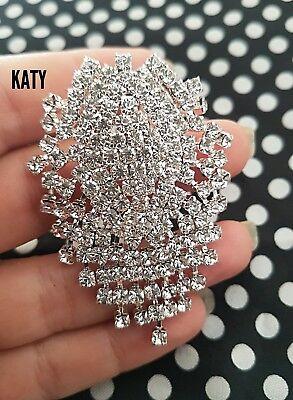 Vintage Style Silver Crystals Droplet Diamante Dangle Drop Flower BROOCH Pin