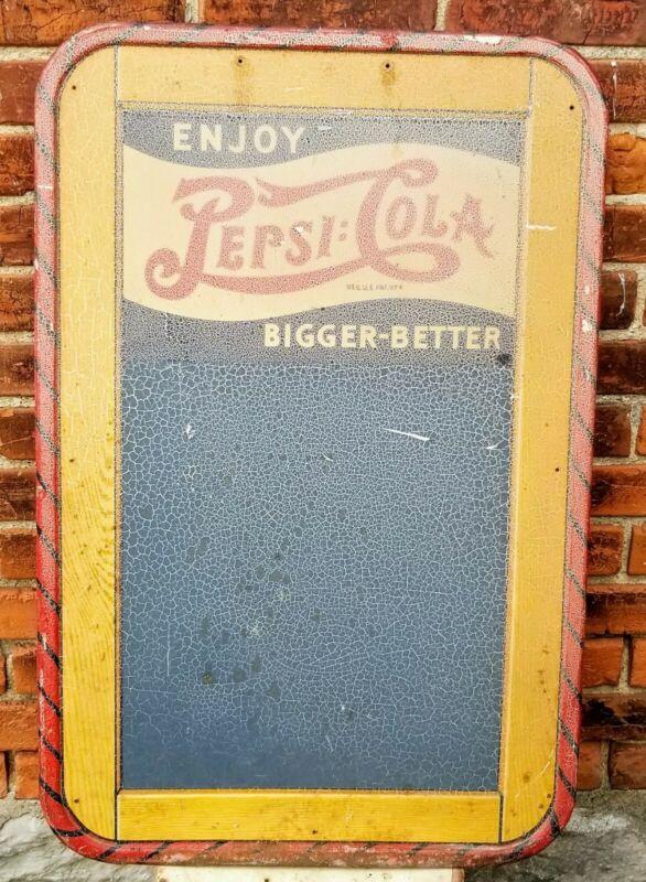 "Vintage Pepsi Bigger Better 1940s Metal Chalkboard Tin Sign 19 1/2"" x 30"""