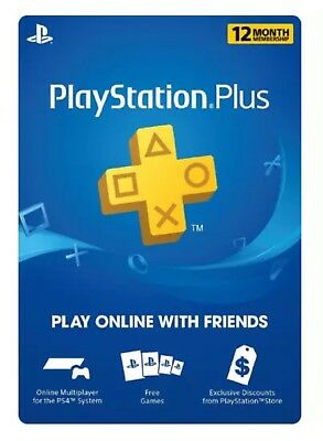 Playstation Plus 12 Month 1 Year Membership Ps4 Ps3 Psp Vita   Code Emailed Fast