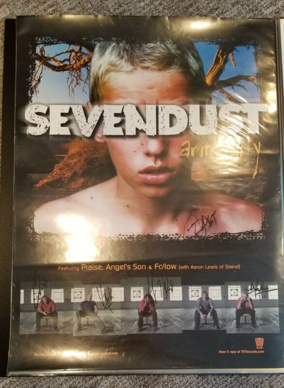 "SEVENDUST FULLY SIGNED ""ANIMOSITY"" PROMO POSTER. AUTOGRAPHED BY 5!"