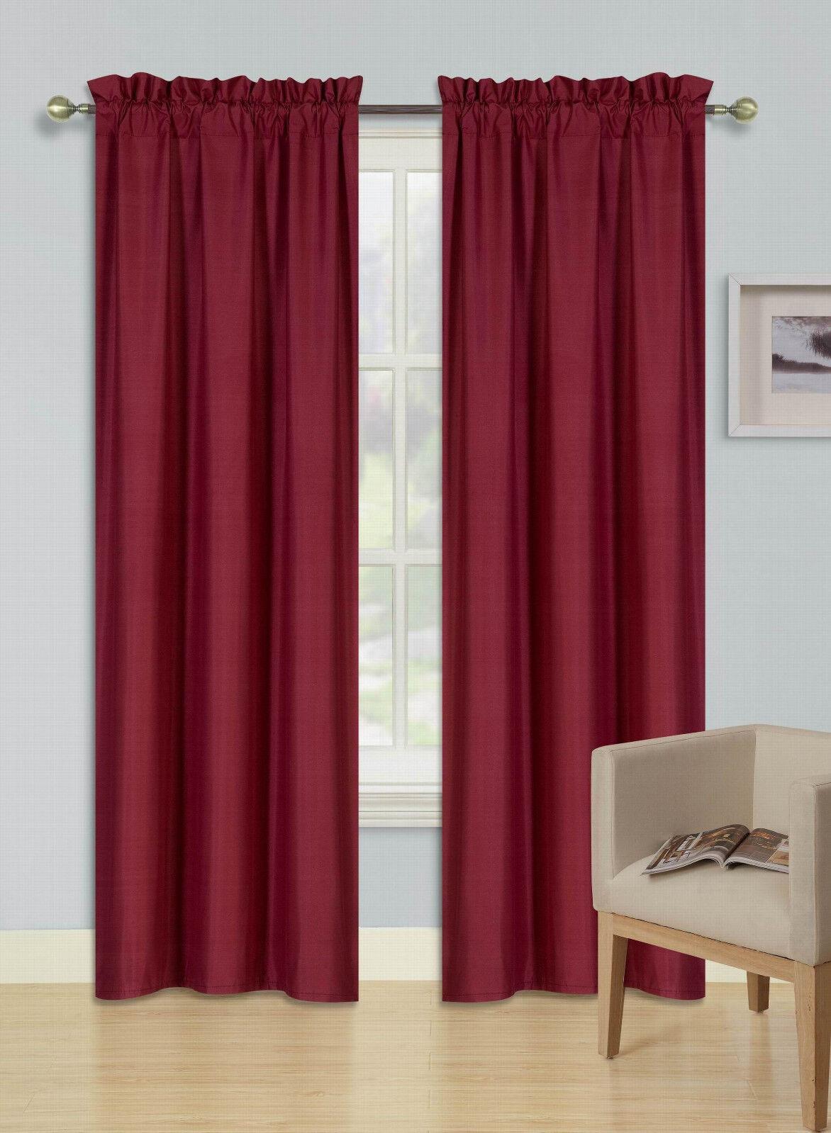 2 Rod Pocket Foam Lined Thermal Blackout Window Curtain Drap
