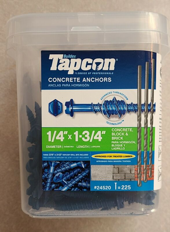Tapcon 225-Count 1/4-in x 1.75-in Blue Steel Self-Tapping Concrete Screw w/Bits
