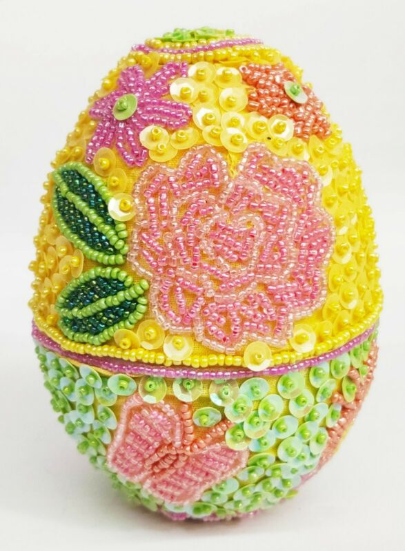 """GODIVA Sequined Easter Egg 5"""" Flower Butterfly Yellow & Pink Candy Container"""