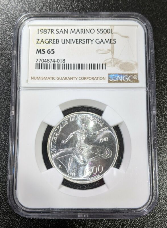 1987 MS65 San Marino Silver 500 Lire NGC Zagreb Univ Games KM 213 UNC