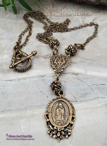 Our Lady of Guadalupe Roses Solid Bronze Ornate Antique Style Catholic Necklace