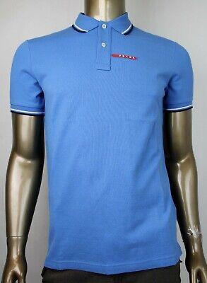 Prada Men's Blue Cotton Short Sleeve Polo Shirt with Logo SJJ887 Azzurro