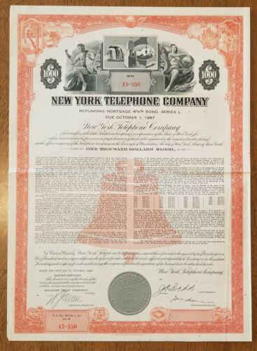 1960 New York Telephone Company Bond stock Certificate