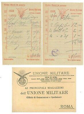 UNIONE MILITARE ROMA RICEVUTE BUSTA INTESTATA 1909 RAMO MERCI GENERE ALIMENTARI