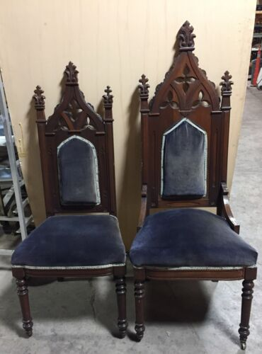 "2 VICTORIAN ANTIQUE VINTAGE CHAIRS  ROYAL KING QUEEN ""CH630"""