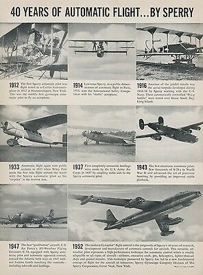 1952 Sperry Gyroscope Aviation Ad 40 Years of Automatic Flight History Airplanes