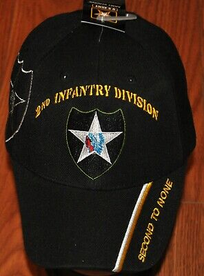 Black 2nd Second Infantry Division Army Hat Baseball Ball Cap Veteran Licensed