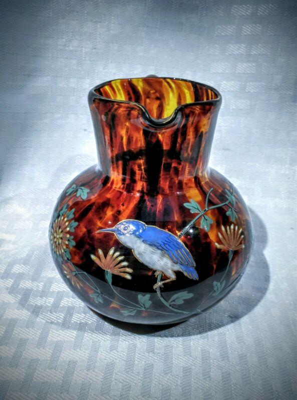 Beautiful Webb Victorian enameled tortoise spatter glass bird & flowers pitcher