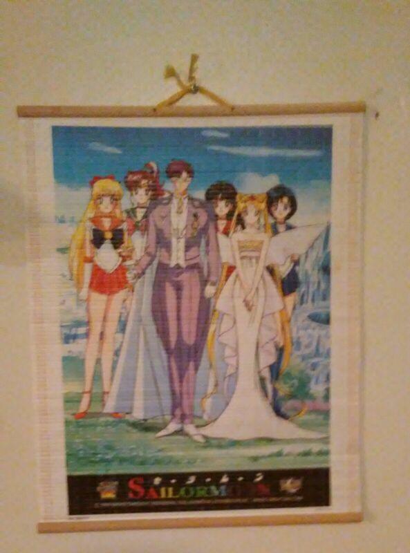"Vintage Sailor Moon Bamboo Scroll Wall Print/Decor--16"" x 12.5""--Circa 1999"