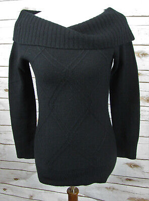 White House Black Market 100% Cashmere Argyle Pattern Cowl Neck Sweater sz XS (Argyle Pattern Sweater)
