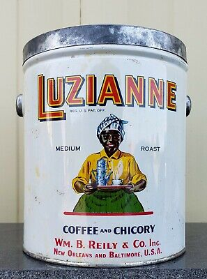 3lb Luzianne Coffee Tin Can Black Americana VTG Advertising Sign Kitchen Bar Old